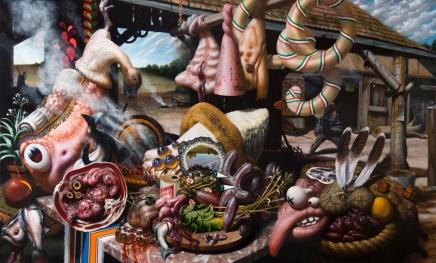 """Christian Rex van Minnen. Great Western Buffet. 2012. Oil Panel. 47"""" x 28"""""""