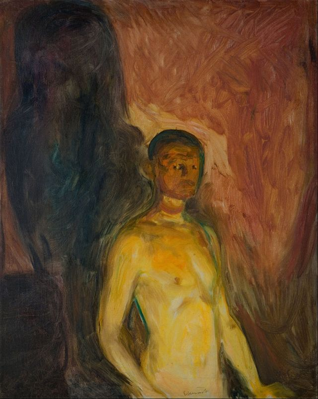 Edvard Munch.  Selvportrett i Helvette [Self-portrait in Hell].  1903.  Oil on Canvas.  820 x 660mm.  The Munch Museum, Oslo.  (via The Google Art Project)